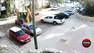 טרקטור פוגע ברכב / תיעוד מצלמת אבטחה / ברנז'ה חדשות