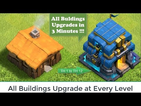 UPGRADE ALL BUILDINGS  in 3 Minutes | Clash of Clans All Buildings Upgrades in Every Level