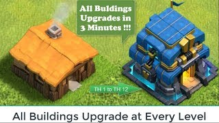UPGRADE ALL BUILDINGS  in 3 Minutes | Clash of Clans All Buildings Upgrades in Every Level thumbnail
