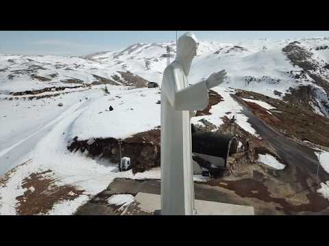 Faraya: Winter Drone Views of St Charbel Statue and The Chabrouh Dam