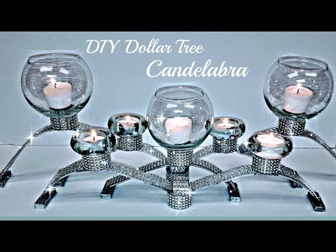DIY Dollar Tree 💎 GLAM Candelabra Candle Holder -  Christmas Bling Centerpiece 💎