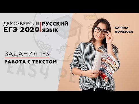 №1-3 Работа с текстом | ДЕМО ЕГЭ 2020 РУССКИЙ ЯЗЫК | Онлайн-школа EASY PEASY