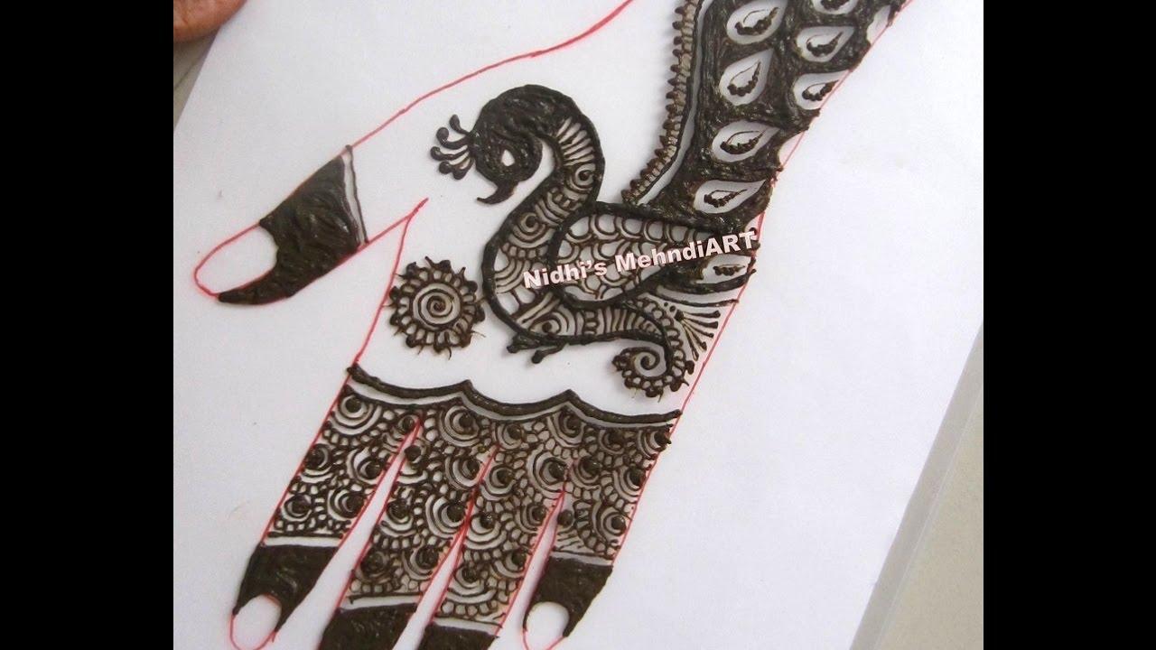 Mehndi Henna Design With Peacock Motif : Stunning peacock back hand henna mehndi design tutorial youtube