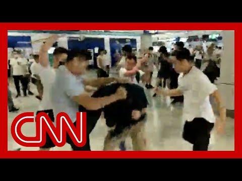 Gang attacks riders on Hong Kong subway
