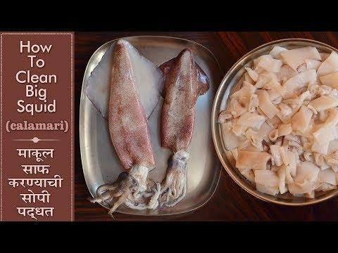 How To Clean Squid | Cutting Big Squid | Calamari Fish | मोठा माकूल साफ करण्याची साधी सोपी पद्धत