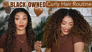 Curly Hair Routine Using ONLY Black-Owned Hair Brands | jasmeannnn