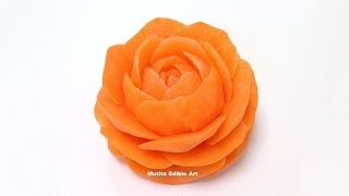 Orange Rose Flower From Carrot - Advanced Lesson 11 By Mutita Art Of Fruit And Vegetable Carving