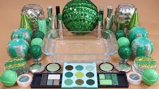"Mixing ""Fantasy Green""Makeup,More Stuff & GreenSlime Into slime!Most Satisfying Slime Video."