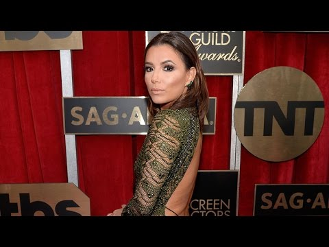 Eva Longoria Stuns at SAG Awards in Super Low-Cut Dress -- Front and Back!