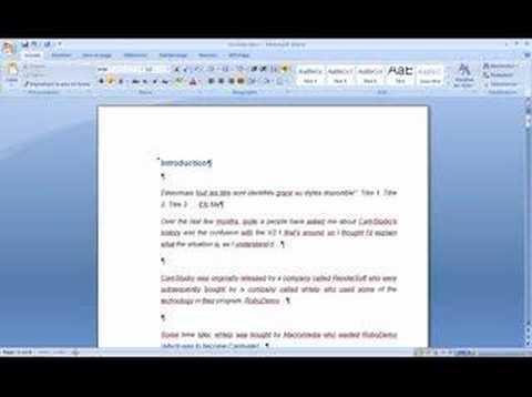 Word 2007 :sommaire & numérotation automatique
