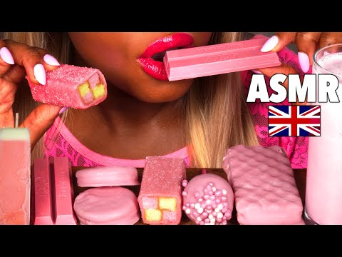 ASMR Pink Ice Cream, Marshmallow, Chocolate KitKat, Oreo, UK Cake Pop, Eating Show, Mouth Sounds