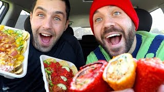 TRYING OUR FIRST SUSHI BURRITOS with JOSH PECK!!