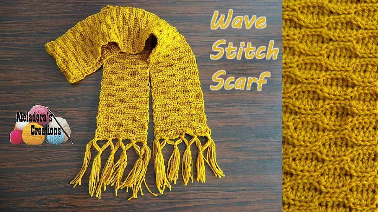 How To Crochet A Scarf Wave Stitch Scarf Crochet