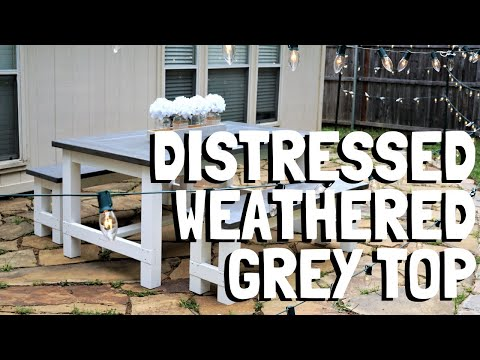 Thaostudios - DIY Distressed Weathered Grey staining. Farmhouse table and benches Ana white