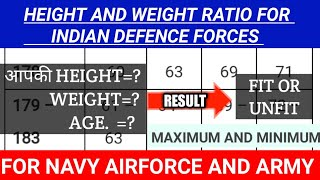 HEIGHT AND WEIGHT CHART FOR INDIAN DEFENCE FORCES//IDEAL HIGHT AND WEIGHT FOR AIRFORCE//MEDICAL
