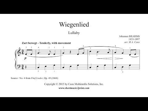 Brahms : Lullaby - Wiegenlied - Easy Piano