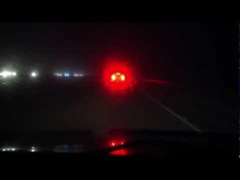 Lake Pontchartrain Causeway at Night with Heavy Fog