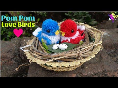 DIY Woolen Birds | How to make Pom Pom Birds with Nest | Easy Craft ideas