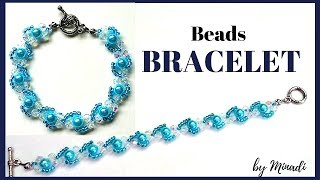 Blue bracelet making. Beading tutorial