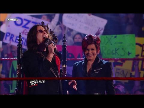 Raw guest hosts Ozzy and Sharon Osbourne address the WWE