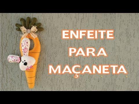 Artesanato / Enfeites de Páscoa - DIY - Enfeite para Maçaneta Cenoura / Coelho