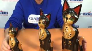 Набор деревянных статуэток «Кошка у окошка»