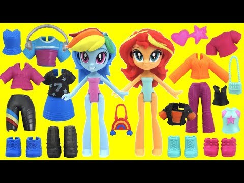 MLP Rainbow Dash And Sunset Shimmer Do Mix And Match Makeovers