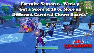 """Get a Score of 10 or More on Different Carnival Clown Boards"" ALL LOCATIONS - Fortnite Challenge"