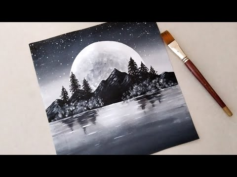 Black & White / Easy Landscape Painting for beginners / Acrylic Painting Technique