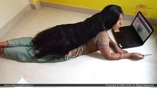 ILHW Rapunzel Ganga Huge Bun Making Hair Play Flaunting with Below Knee Length Extra Thick Mane