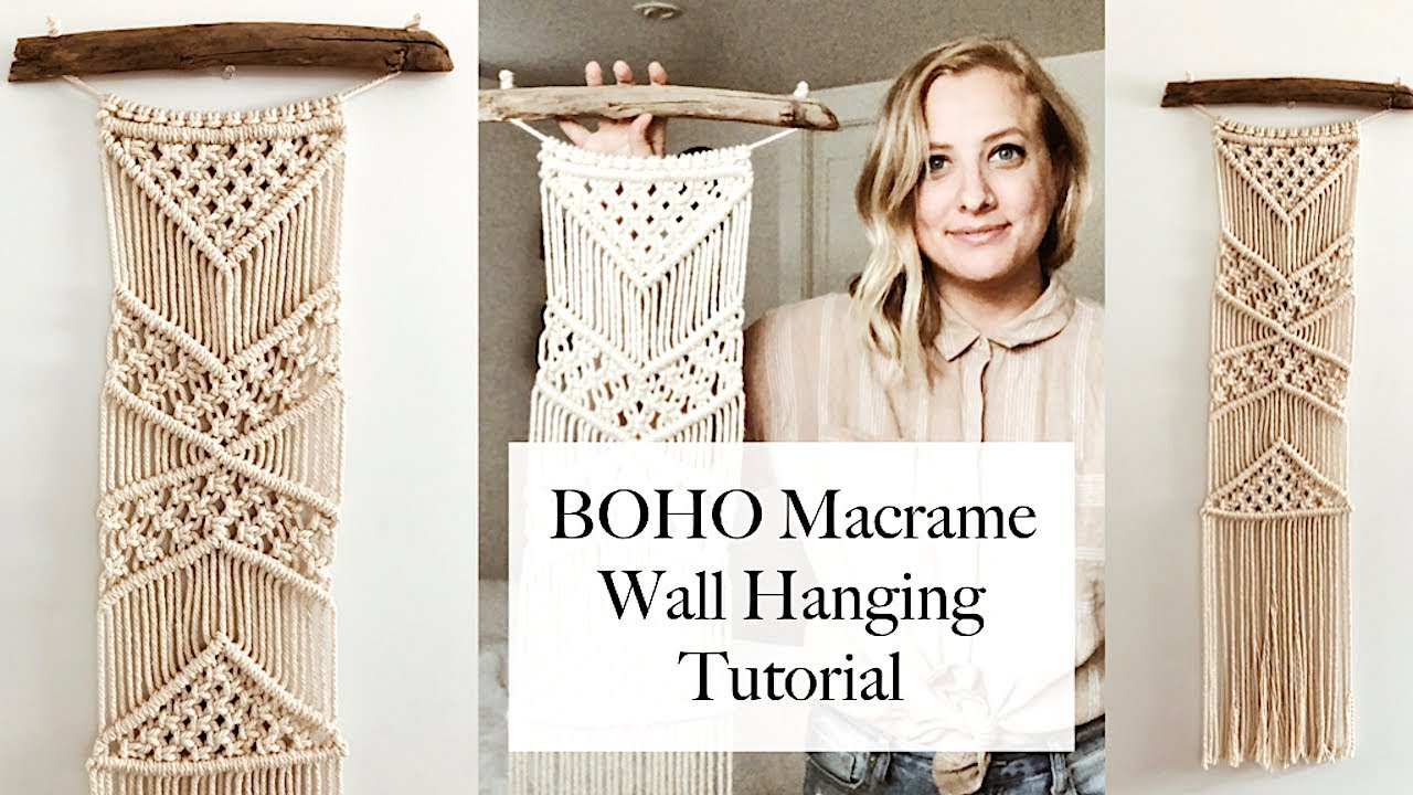 How To Boho Macrame Wall Hanging Tutorial Youtube