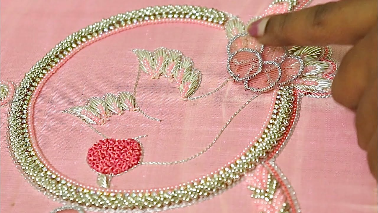 Double color bead loading/ 3d bird embroidery