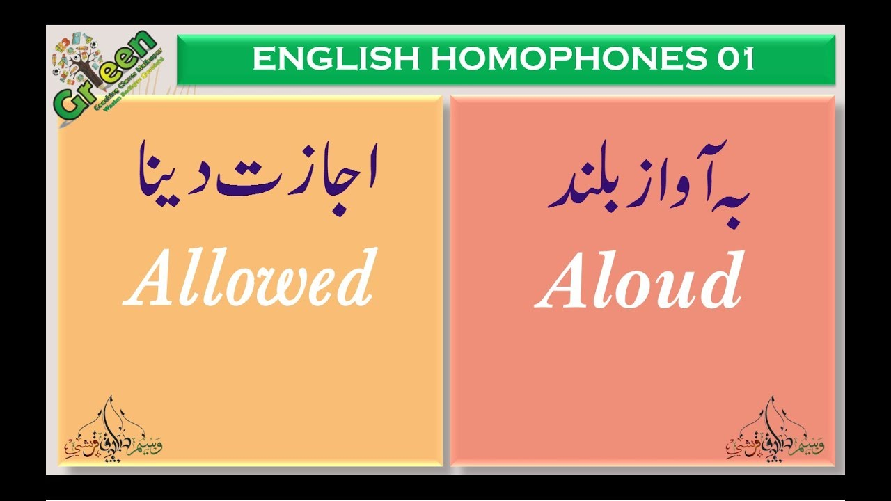 Homophones In English 01 Homophones Same Sound Words English