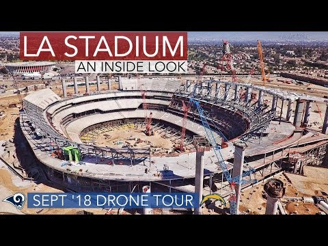 Rams Chargers LA Stadium Sept '18 Drone Construction Tour