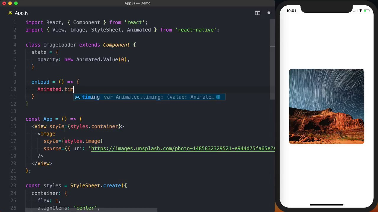Fade in an Image with React Native with the Animated API