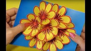 Поделки-Подарки МАМЕ Своими Руками (Бабушке, Учителю,Подруге).Открытка 3Д Цветы из Бумаги.