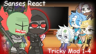 Sans Aus react to Tricky mod phase 1-4    Friday Night Funkin'    Part 3