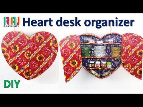 DIY desk organizer    best out of waste cardboard    art and craft idea 2018