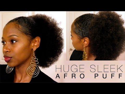EASY HUGE SLEEK AFRO PUFF For Short Amp Medium Hair YouTube