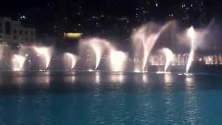 Dubai water fountain on western music at dubai mall burj khalifa
