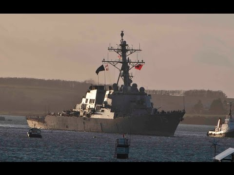 US NAVY USS DONALD COOK DDG-75 LEAVES DEVONPORT NAVAL BASE AT WESTERN KINGS - 12th March 2017