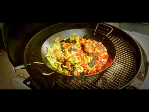 Mexican Paella cooked in the Lodge 15'' Carbon Steel Skillet on the Weber Performer