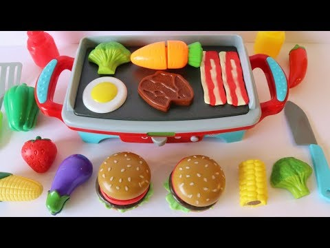 Toy grill BBQ hamburger picnic playset learn names of fruits and vegetables
