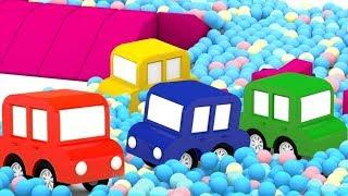 4 coches coloreados. Juegos para niños. Dibujos animados.