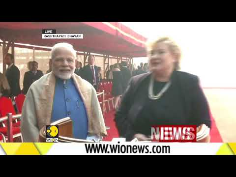 Norway PM Erna Solberg accorded ceremonial reception