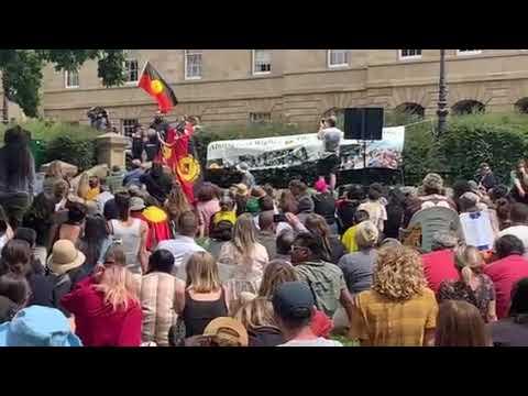 Dewayne Everettsmith & Kartanya Maynard sing at Invasion Day rally - nipaluna Hobart, January 2021