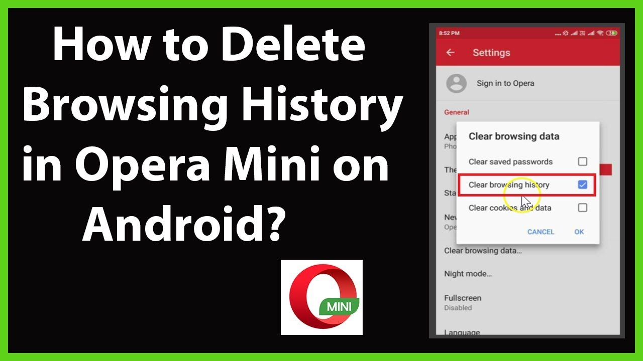 How To Delete Browsing History In Opera Mini On Android Youtube
