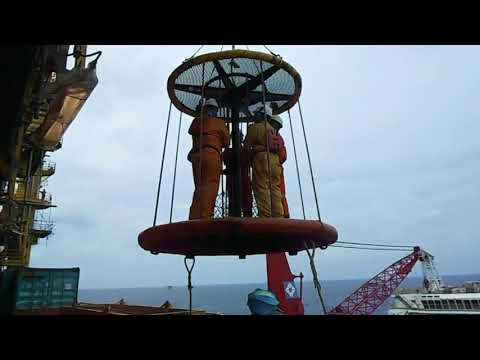 Working crew transfer by basket from production platform to working barge in offshore