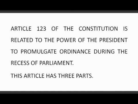 Article 123 of the Indian Constitution   Manya Education