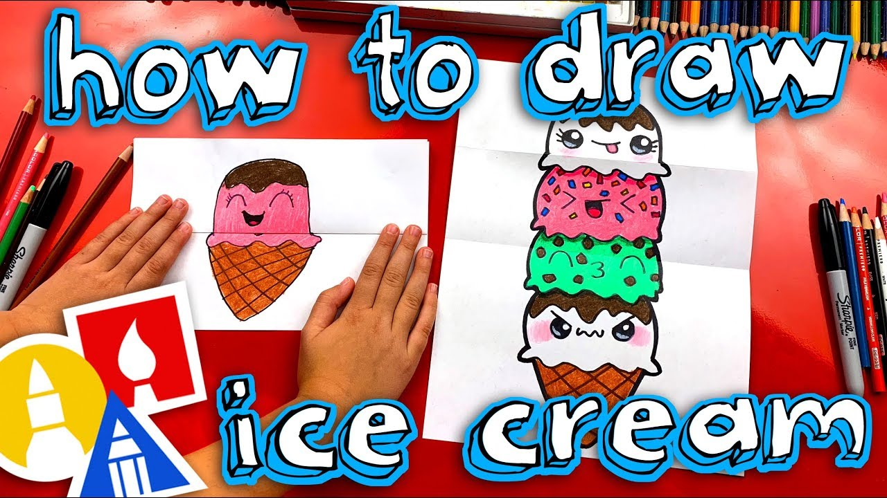 How To Draw An Ice Cream Tower Folding Surprise Youtube